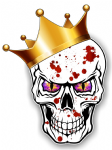 GOTHIC King of SKULL Skulls With PURPLE Evil Eyes and Crown Blood Splatter Motif External Vinyl Car Sticker 115x85mm